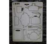 """Высечка из картона 014 """"Кухонная посуда"""""""