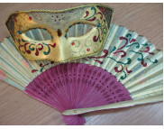 "Рекламный плакат А-3 Венецианская маска ""Коломбина""и веер Маска для декорирования M70823**Maimeri (Маймери) Италия MHB-8495-**Maranne Hobby (Марианн Хобби) Австрия"