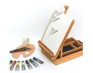 *Набор для начинающего художника Тициан(краски масл.7шт+холс/картон 3шт.+кисти 4шт+рабавитель+лак) в деревян.этюдгике без ножек
