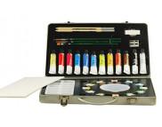 """Набор акварельных красок """"Atelier"""" Pebeo (12тубх12мл+12цв кювет+палитра+2 каранд.+3 кисти) в металл. Упак."""