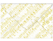 RR Конверт декоративнный из кальки 115гр 12,5х17,6 НОТЫ ЗОЛОТО
