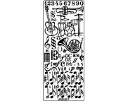 """Наклейка 10х23см """"Муз.инструм.и ноты"""" МЕДЬ"""